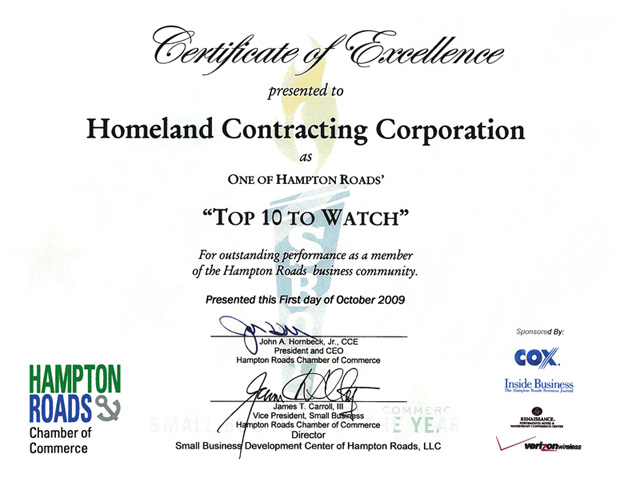2009: Hampton Roads Chamber of Commerce, 2009